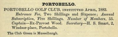 Portobello Golf Club, Edinburgh. Entry from the Golfing Annnual 1888/89.