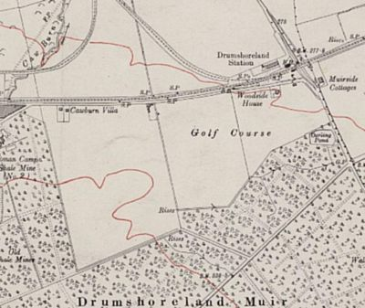 Broxburn Golf Club, Drumshoreland Course. Location of the golf course at the time of WW1.