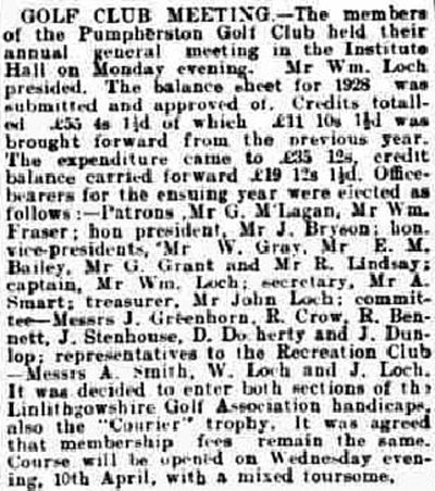 Pumpherston Golf Club, West Lothian. Report on the annual meeting in February 1929.