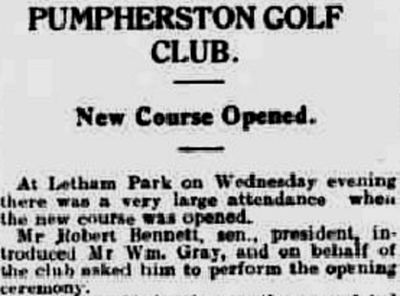 Pumpherston Golf Club, West Lothian. Report on the new course at Letham Park in April 1931.