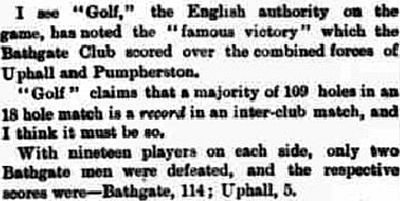 "Pumpherston Golf Club, West Lothian. Report on a ""famous victory"" in October 1898."