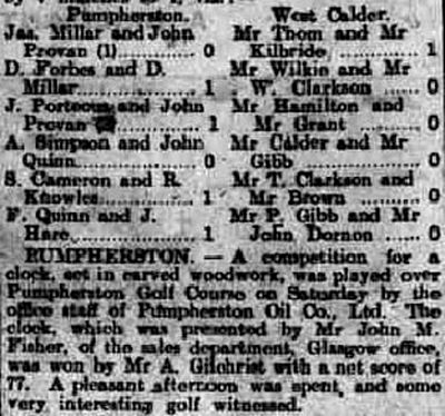 Pumpherston Golf Club, West Lothian. Match and competition result from June 1910.