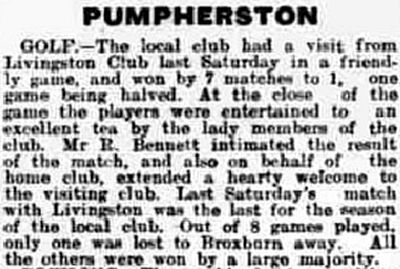 Pumpherston Golf Club, West Lothian. Result of a match against Livingston in September 1922..