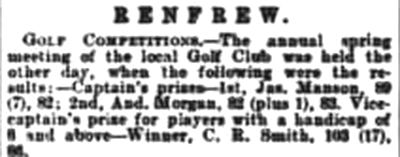 Renfrew Golf Club. Result from the spring meeting in April 1901.