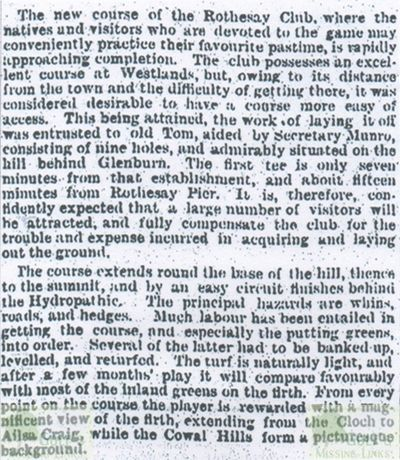 Rothesay Golf Club, Argyll & Bute. Report on the clubs move to Glenburn in 1896.