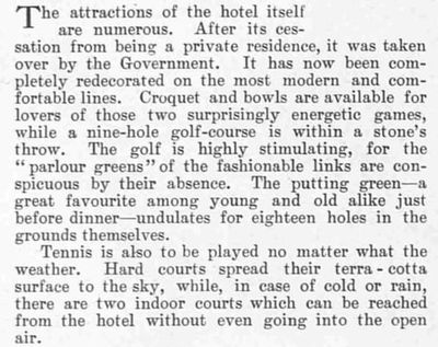 Shandon Golf Club, Argyll & Bute. Report on the hotel and golf course May 1927.