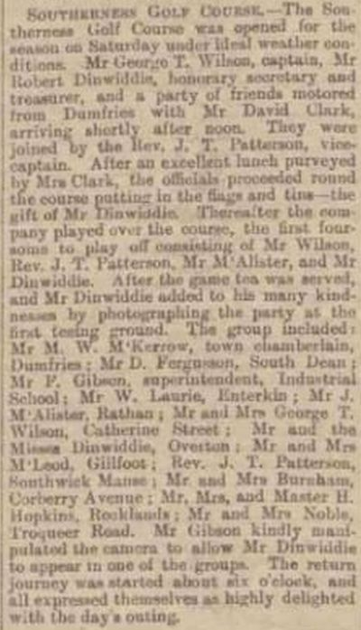 Southerness Golf Club, Dumfries & Galloway. Press report from April 1914.
