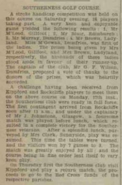 Southerness Golf Club, Dumfries & Galloway. Press report from July 1916.