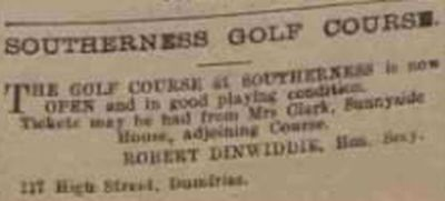 Southerness Golf Club, Dumfries & Galloway. Advert for the course in April 1914.