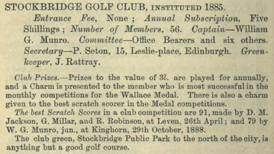 Stockbridge Golf Club, Edinburgh. Entry from the 188/89 Golfing Annual.