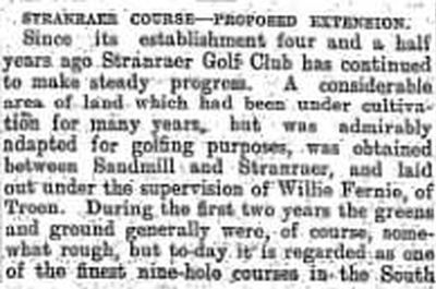 Stranraer Golf Club. Proposed course extension in September 1911.