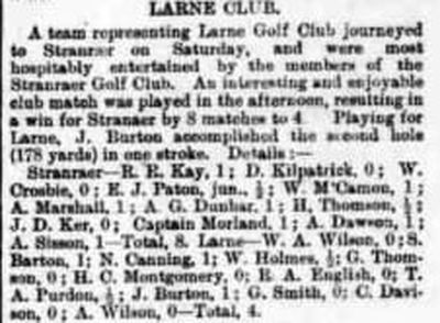 Stranraer Golf Club. Result of a match played at Stranraer against Larne in 1923.