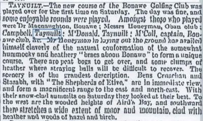 Bonawe (Taynuilt) Golf Club, Taynuilt, Argyll. Opening of the Bonawe course in April 1892.