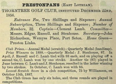 Thorntree Golf Club, Prestonpans. Entry from The Golfing Annual 1888/89.