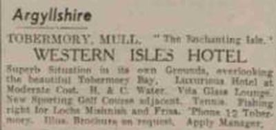 Tobermory Golf Club, Argyllshire. Advert for the Western Isles Hotel with golf course.
