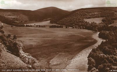 Tomintoul Golf Club, Moray. The golf course on a postcard by J B White of Dundee.