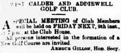 West Calder and Addiewell Golf Club, Burngrange Course. Proposed new golf course in September 1921.