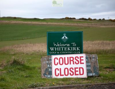 Whitekirk Golf & Country Club, North Berwick, East Lothian. Course Closed sign.