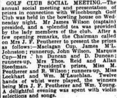 Winchburgh Golf Club, West Lothian. Report on Social Meeting December 1930.