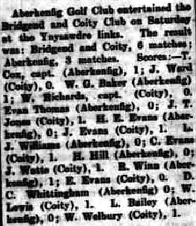 Bridgend and Coity Golf Club. Result of a match played against Aberkenfig in July 1930.