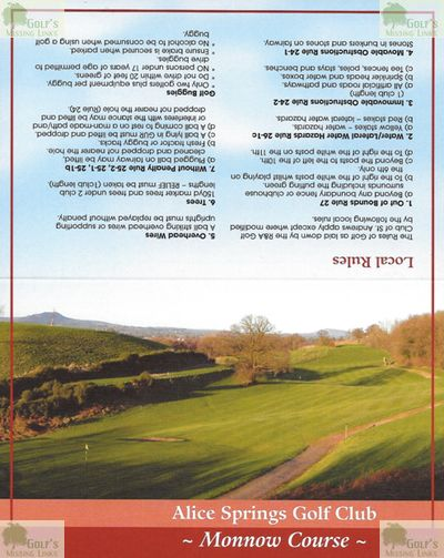 Alice Springs Golf Club, Usk, Monmouthshire. Scorecard for the later Monnow Course.
