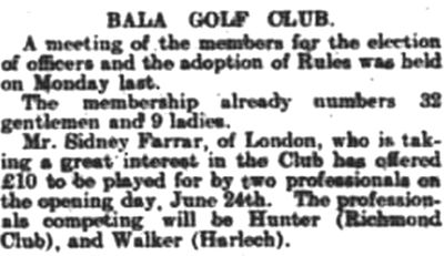Bala Golf Club, Gwynedd. Report on the new golf course at Bala.