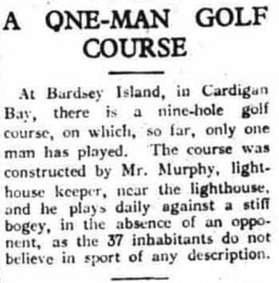 Bardsey Island Golf Course, Cardigan Bay. Unique Golf Course in 1928.