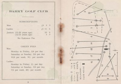 Barry Golf Club, The Leys, Gileston. Subscriptions, fees and course layout.