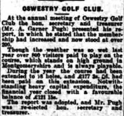 Oswestry Golf Club, Llanymynech Hill Course. The course is extended to 18-holes in January 1928.