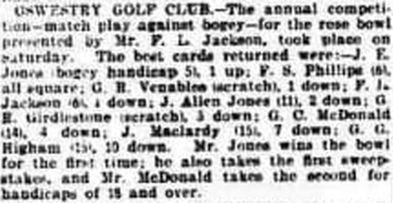 Oswestry Golf Club, Llanymynech Hill Course. Result of the annual competition for the rose bowl October 1909.