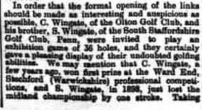 Ross-on-Wye Golf Club, Hereforshire. Report on the opening of the Alton Court course in 1903.