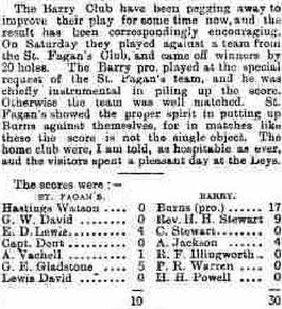 Barry Golf Club, The Leys, Gileston. Result of a match against St. Fagans Golf Club played in December 1898.