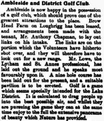 Ambleside and District Golf Club, Loughrigg. Early report on the golf club from March 1903.