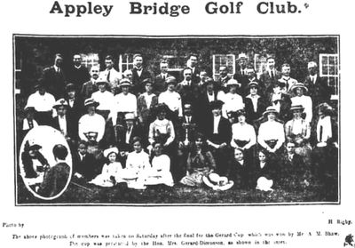 Appley Bridge Golf Club, Wigan. Presentation of the Gerard Cup to A M Shaw in July 1914.