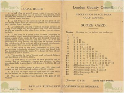 Beckenham Place Park Golf Club, London. Course scorecard from 1937.