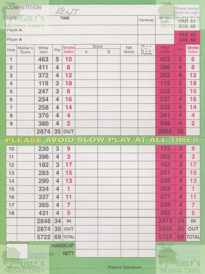 Beckenham Place Park Golf Club, London. Course scorecard from the 2000s.