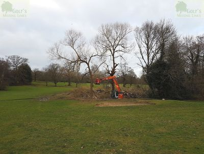 Beckenham Place Park Golf Club, London. Trees being felled on the former golf course.