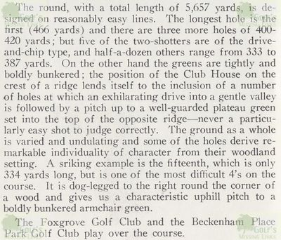 Beckenham Place Park Golf Club, London. Article from Browning's Golf in Kent c1960s.