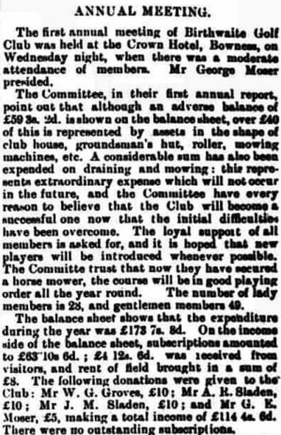 Birthwaite Golf Club, Winderemere, Cumbria. Report on the first annual meeting March 1907.