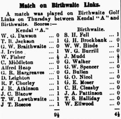 Birthwaite Golf Club, Winderemere, Cumbria. Report on a match played at Birthwaite in May 1910.