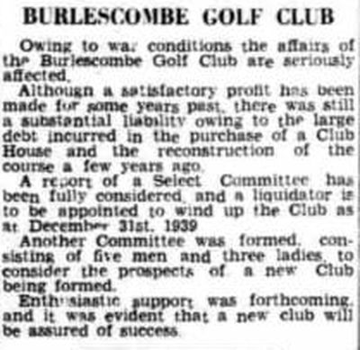 Burlescombe Golf Club, Devon. The club is wound-up in November 1939.