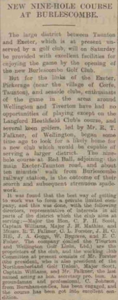 Burlescombe Golf Club, Devon. Report on the new Burlescombe Golf Club February 1926.