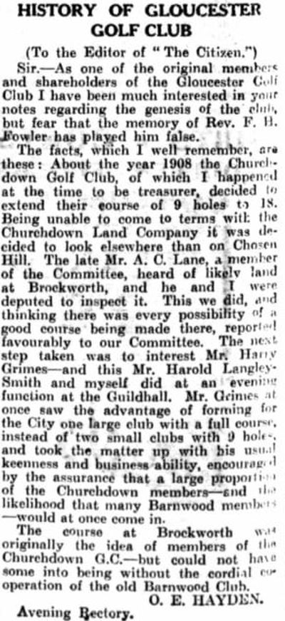 Churchdown Golf Club, Chosen Hill, Gloucestershire. Letter titled History of Gloucester Golf Club.