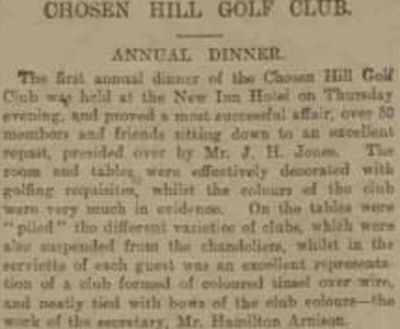 Churchdown Golf Club, Chosen Hill Course, Gloucestershire. The first annual dinner held in November 1902.
