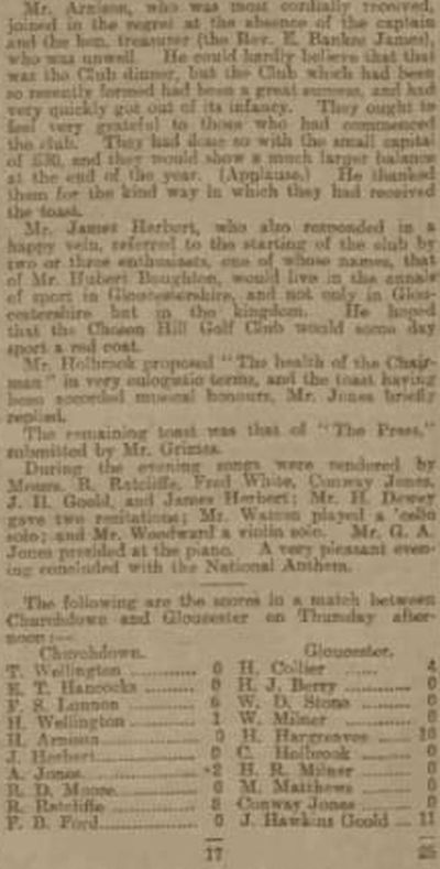 Chosen Hill Golf Club, Gloucestershire. The first annual dinner held in November 1902.