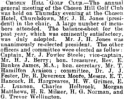Chosen Hill Golf Club, Churchdown. Report on the annual meeting in January 1904.