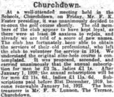 Churchdown Golf Club, Chosen Hill Course, Gloucestershire. Hopes of a revival of the club in August 1919.