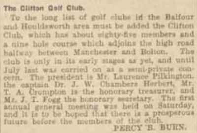 Clifton Golf Club, Manchester. Report on the Clifton Golf Club January 1913.