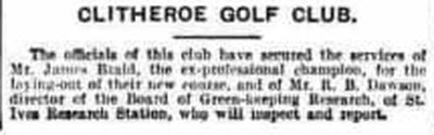 Clitheroe Golf Club, Horrocksford Course. Proposed new golf course in September 1931.