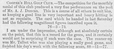 Cooper's Hill Golf Club, Surrey. Result of the July 1894 monthly medal.